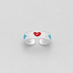 Sterling Silver Heart & Rhombus Toe Ring